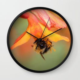 Bee on Flower. Wall Clock