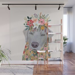 Silver Labrador with Flowers Wall Mural