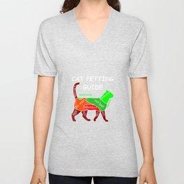 Cat Petting Cuddling Guide Shirt Cat Lover Gift Unisex V-Neck