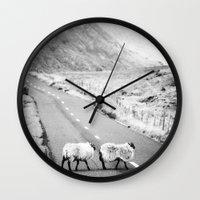 irish Wall Clocks featuring Irish Sheeps by GF Fine Art Photography