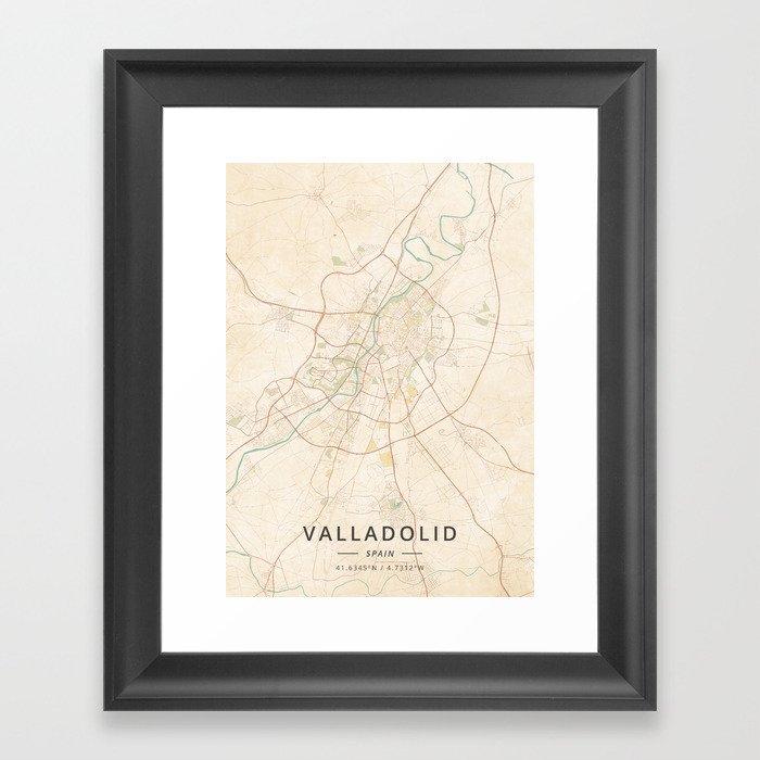 Map Of Spain Valladolid.Valladolid Spain Vintage Map Framed Art Print By Designermapart