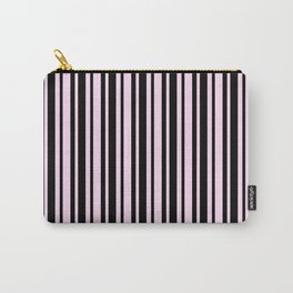 Pink Lace Pink and Black Vertical Var Size Stripes Carry-All Pouch