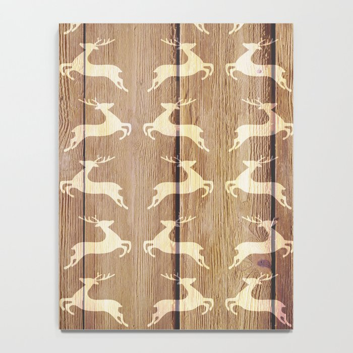 Christmas Pattern on Wood 02 Notebook