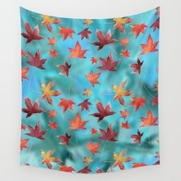 Dead Leaves over Cyan Wall Tapestry