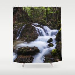 Magical waterfall in gorge Hell Shower Curtain