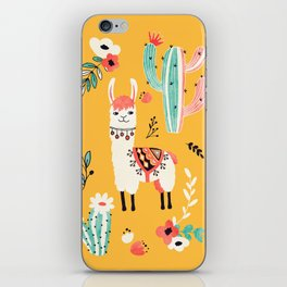 White Llama with flowers iPhone Skin