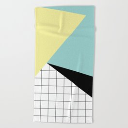 shapes and grid Beach Towel