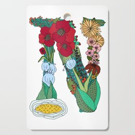 Floral Letter N Cutting Board