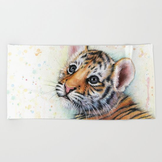 Tiger Cub Cute Baby Animals Beach Towel