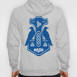 Blue Thor's Hammer With Ravens Hoody
