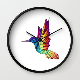 Rainbow Hummingbird Wall Clock
