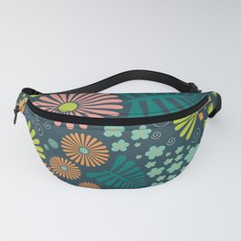 Whimsical Flowers - orange, pink and green Fanny Pack