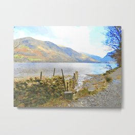 The Shores of Buttermere, Lake District, UK Watercolour Painting Metal Print