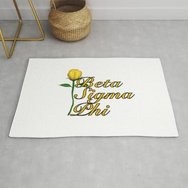 Beta Sigma Phi with Long Stem Rose on White (BSP) Rug