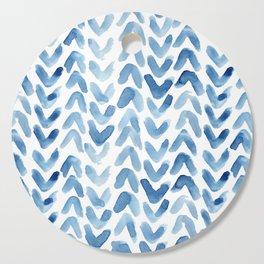 Blue Chevron Watercolour Cutting Board