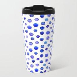 Blue polka dot watercolor pattern Metal Travel Mug