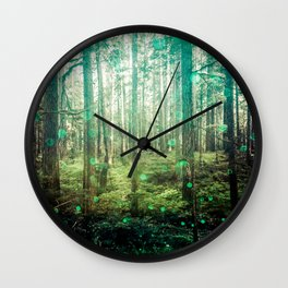 Magical Green Forest - Nature Photography Wall Clock
