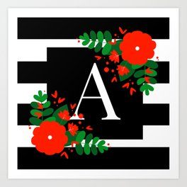 A - Monogrammed Initial Letter Art Print