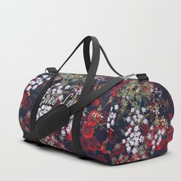 Fake Love Red Floral Duffle Bag
