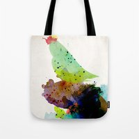 contemporary Tote Bags featuring Bird standing on a tree by contemporary