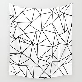 Abstract Outline Black on White Wall Tapestry