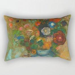 "Odilon Redon ""Fleurs dans un vase bleu"" Rectangular Pillow"