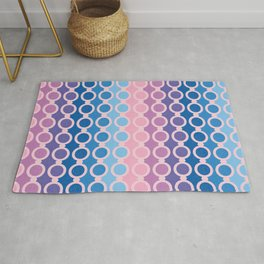 stripes and circles in blue and pink Rug