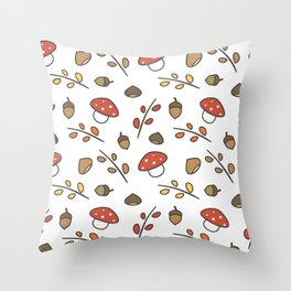 cute lovely autumn pattern with branches, leaves, mushroom, acorns, chestnuts Throw Pillow