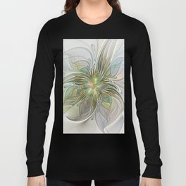 Floral Fantasy, Abstract Fractal Art Long Sleeve T-shirt