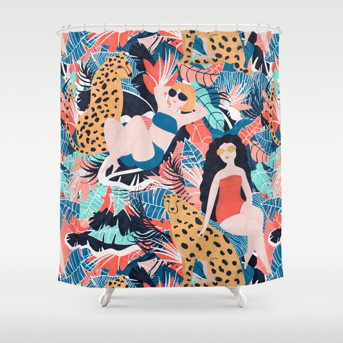 Tropical Girls With Cheetah Shower Curtain
