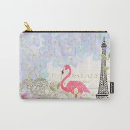 Elegant vintage french Eiffel Tower watercolor flamingo floral Carry-All Pouch