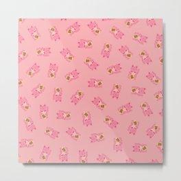 Lucky Cat Patern in Bubblegum Pink Metal Print