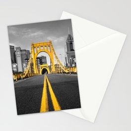 Pittsburgh Pennsylvania Steel City Skyline Bridge Black And White Photography Print Stationery Cards