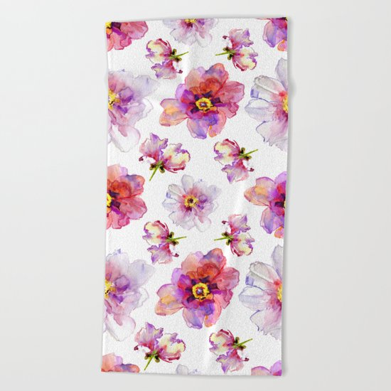 Delicate Floral Pattern 03 Beach Towel
