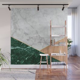 Geometric White Marble - Green Granite & Wood #138 Wall Mural