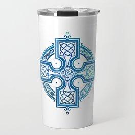 St. Patrick's Day Celtic Blue Cross Travel Mug