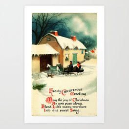 Christmas Greeting 19th Century, husband & wife in horse sleigh Art Print