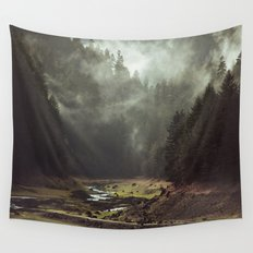 Foggy Forest Creek Wall Tapestry