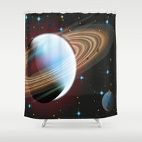 planets Shower Curtains featuring Planets by Kaitlynn Marie