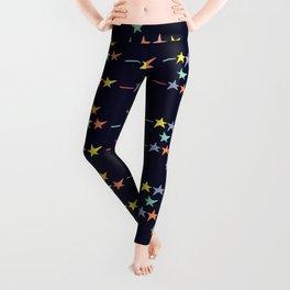 Colorful falling stars by night pattern Leggings