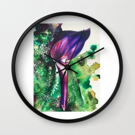 Violet Orchid Wall Clock