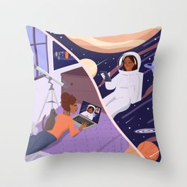outer space face time Throw Pillow