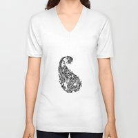batik V-neck T-shirts featuring paisley batik black by Ariadne