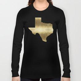 texas gold foil print state map Long Sleeve T-shirt