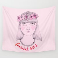 feminist Wall Tapestries featuring Floral Feminist Bitch by Ambivalently Yours