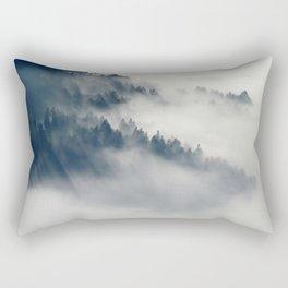 Mountain Fog and Forest Photo Rectangular Pillow