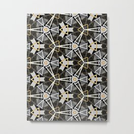 Gray and Gold Abstract Geometric Part III. Metal Print