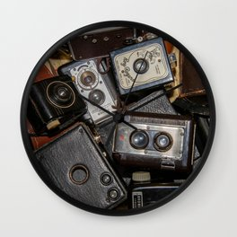 A Mess Of Old Cameras 2 Wall Clock