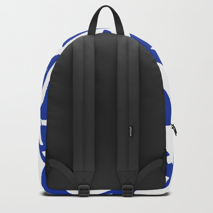 PALM LEAF VINE SWIRL BLUE AND WHITE PATTERN Backpack