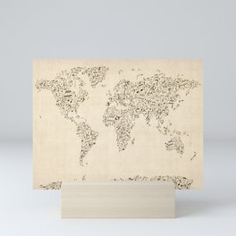 Music Notes Map of the World Mini Art Print